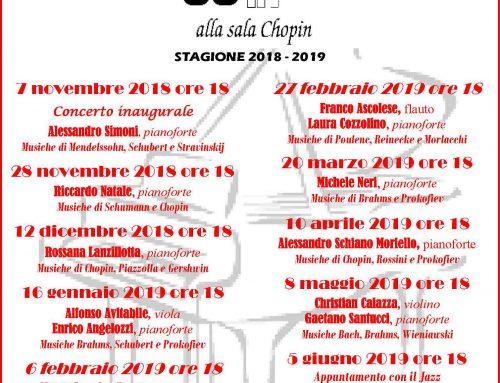 POMERIGGI IN CONCERTO 2018-2019 _ Sala Chopin